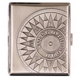 Zigaretten Etui Metall Kompass chrom